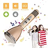 Drahtlos Karaoke Mikrofon,SGODDE Tragbar Bluetooth Lautsprecher Spieler für Kinder Sprache KTV Karaoke Player, Mikrofon Gesang Kompatibel mit PC/iPad/iPod/iPhone/Android Smartphone(Gold)