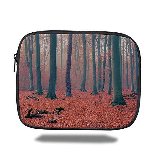 Tablet Bag for Ipad air 2/3/4/mini 9.7 inch,Forest,Foggy Forest Tree Trunks Leaves in Rich Autumn Colors Idyllic Landscape Picture,Salmon Tan,3D Print - Canvas-trunk