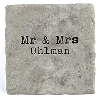 Mr & Mrs Uhlman - Set of Four Marble Tile Drink Coasters