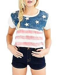 Yeamile���� Camiseta de Mujer Tops Negro Blusa Causal Ocasionales Camisa de Manga Corta Manera de la Bandera Mmericana Imprimieron de las Mujeres (Blanco, XL)