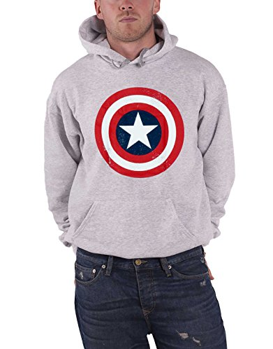 Captain america Hoodie Distressed Shield Logo Official Mens Grey Pullover