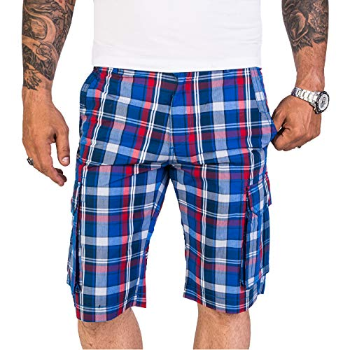 Rock Creek Herren Shorts Kurze Hose Bermuda Cargo Kariert Herrenshorts Karo Blau Cargoshorts Pants Männershorts Chino mit Taschen H-184 Blue L -