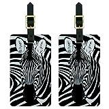 Graphics & More Zebra Safari Black Animal Print Luggage Tags Suitcase Carry-on Id, White