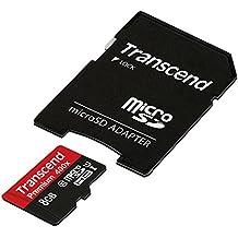 Transcend Premium - Tarjeta de memoria micro SDHC de 8 GB con adaptador (Clase 10, UHS-I, 45 MB/s 300x )
