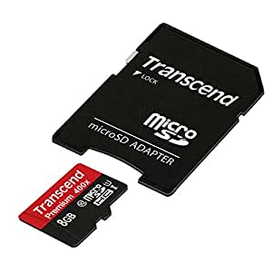 Transcend 8GB MicroSDHC Class10 UHS-1 Memory Card with Adapter 45 MB/s (TS8GUSDU1)