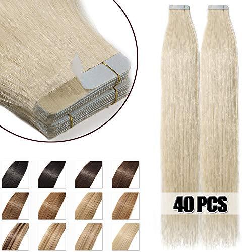 50cm extension adesive capelli veri 40 fasce 100g/set remy human hair tape in lisci umani riutilizzabile seamless, #60 biondo platino