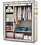 UDEAR Kleiderschrank Stoff Storage Wardrobe Bedroom Furniture Kleiderschränke mit a Kleiderstange Beige