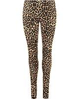 Womens Leopard Animal Print Ladies Stretch Full Length Leggings Pants - 8-14