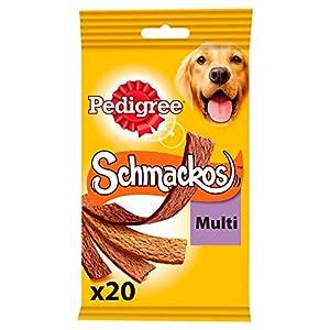 Pedigree Schmackos - Récompenses en lamelles de 4 saveurs pour chien, 1 sachet de 20 friandises