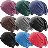 Hatstar Klassische Jersey Slouch Long Beanie Mütze, leicht und weich, Reversible Bicolor für Damen und Herren (Braun)