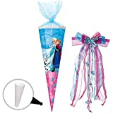Unbekannt Schultüte -  Disney die Eiskönigin - Frozen  - 50 cm - rund - incl. große Schleife - mit Tüllabschluß - Zuckertüte - mit / ohne Kunststoff Spitze - Nestler ..