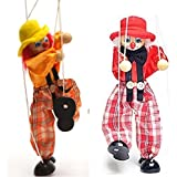 SPARIK ENJOY Clown Hand Marionette Puppet Children's Wooden Marionette Toys Colorful Marionette Puppet Doll Parent-Child Interactive Toys-Red