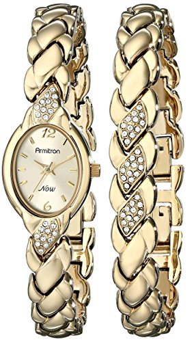 Armitron Women's 75/3901CHGPST Swarovski Crystal-Accented Gold-Tone Bracelet and Watch Set