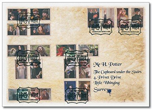 Harry Potter   Luxusbrief  USA   20 Harry Potter-Briefmarken  magisches Sammelstück  frankiert  Sonderstempel  280 x 200 mm  besonders interessante Anschrift  nur 400 Exemplare (Harry-potter-briefmarken)