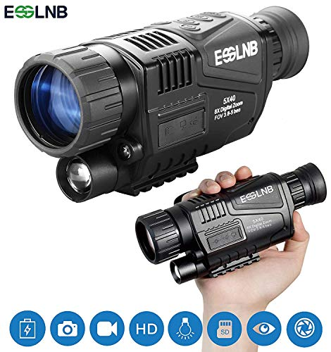 ESSLNB Nachtsichtgerät Jagd Militär 5X40 Digital Day Night Vision Scope mit 8GB TF Karte Infrarot Kamera und Stativanschlussgewinde Wiedergabe Foto und Videoaufnahmefunktion bei Tag und Nacht