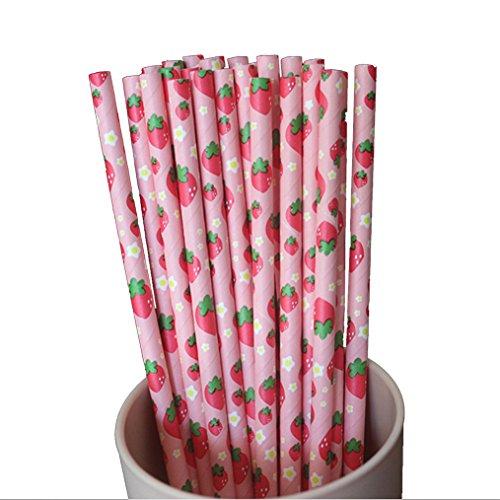 ODN 25 Stück Trinkhalme Erdbeer-Muster Handgefertigten Papier Strohhalm Stroh für Party, Bars