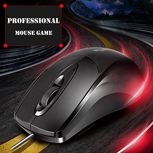 Raza Wired USB 3Tasten Optische Gaming Gamer Maus Mäuse 1600DPI für Laptop PC Computer Maus (Notebook-tastatur-einheit)