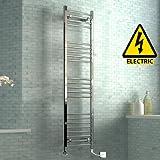 1600 x 400 mm Electric Curved Towel Rail Radiator Chrome Heated Ladder
