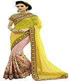 Avail Sarees Yellow Color Net & Georgette Fabric Embroidery Work Saree ( sarees for women party wear offer designer sarees for women latest design sar
