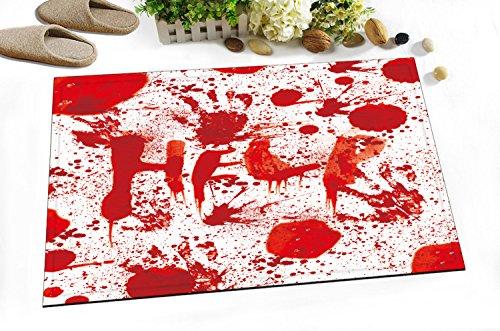 60Lx40W CM Rutschfest Anti Schimmel Waschbar Wasseraufnahme Weich Badematte /Blutiger Handabdruck,Spritzer Blut/ Digital Entwurf Drucken Teppich Für Badezimmer Dekoration (Handabdrücke Teppich)