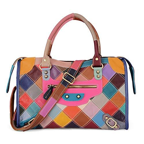 NOBIE-BAG Leder Deckschicht Rindsleder Weibliche Handtasche, Mehrfarbige Plaid-Farbabstimmung Mode Lässig Umhängetasche, Dating Einkaufen Bevorzugt (38 * 12 * 25Cm) (Mini-taschenrechner Casio)