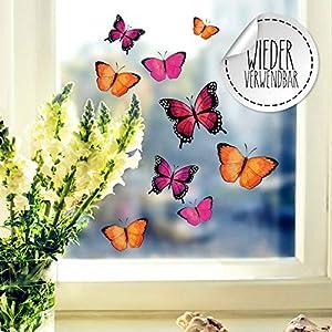 Fensterbilder Fensterbild Schmetterlinge pink orange lila wiederverwendbar Frühling Frühlingsdeko Fensterdeko bf57 – ausgewählte Farbe: *bunt* ausgewählte Größe: *1. Schmetterlinge pink orange lila*