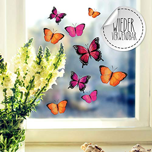 Fensterbilder Fensterbild Schmetterlinge pink orange lila wiederverwendbar Frühling Frühlingsdeko Fensterdeko bf57 - ausgewählte Farbe: *bunt* ausgewählte Größe: *1. Schmetterlinge pink orange lila* -