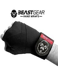 Beast Gear Bendaggi boxe avanzati – Fasce boxe di qualità Professionali per Sport di Combattimento, MMA e Arti Marziali ★ 4.5mt di bendaggi elasticizzati