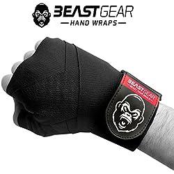 Vendas de boxeo avanzadas, de Beast Gear. Calidad superior para deportes de combate, artes marciales. Vendas elásticas de 4,5 metros, negro
