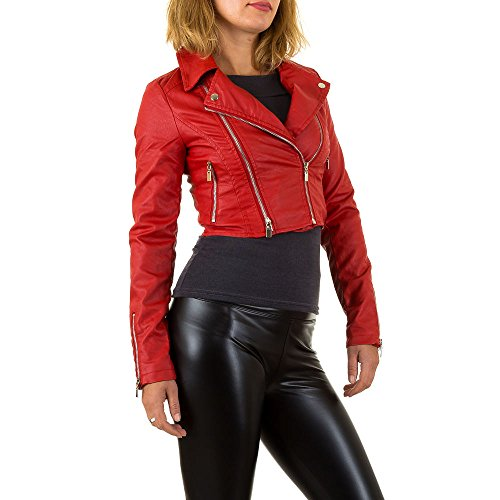 Lederoptik Biker Cropped Jacke Für Damen , Rot In Gr. 36 bei Ital-Design