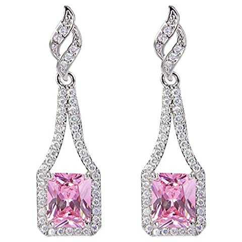 EVER FAITH® Women's CZ October Birthstone Square Bridal Drop Earrings Tourmaline Color Silver-Tone N08180-2