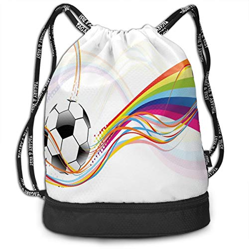 LULABE Printed Drawstring Backpacks Bags,Rainbow Patterned Swirled Lines Abstract Football Pattern Colorful Stripes Design,Adjustable String Closure