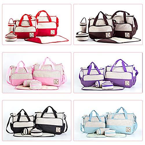 YGQersh Bébé 5Pcs Grande Capacité Maternité Sac À Main Momie Poussette Nappy Diaper Bag Set - Rose