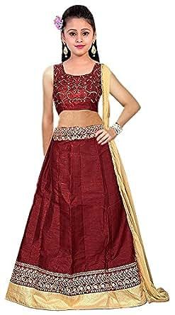 Myozz Girl Semi-Stitched Banglori Silk Maroon Lehenga Choli [Free Size Available 7 Year to 12 Year]