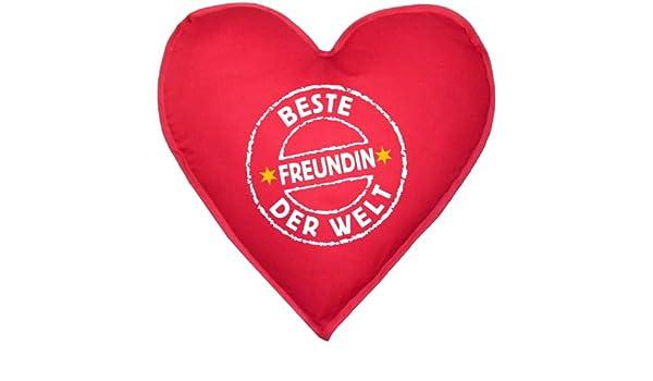 Herzkissen Mit Innenkissen   Stempel: Beste Freundin Der Welt   Zum  Valentinstag   Geschenk Freundinnen     Ca. 40x40cm   In Rot : ):  Amazon.de: Küche U0026 ...