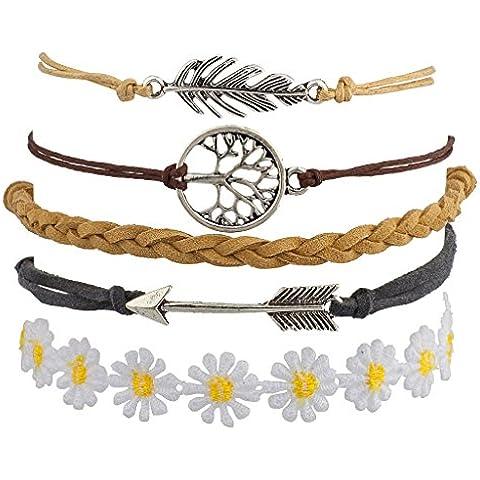 Lux accessori in metallo foglia albero della vita freccia floreale tessuto Arm Candy Set Bracciale