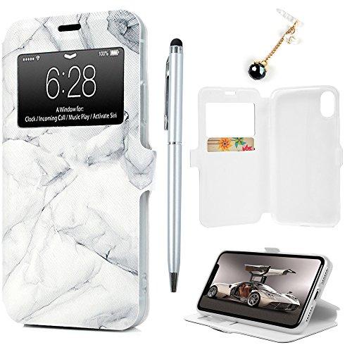 Badalink Hülle für iPhone X Elefant Handyhülle Leder PU Buntes Schutzhülle Magnet Flip Case mit Smart Windows und Kartensteckplätzen und Ständer Handytasche mit Eingabestifte Graues Marmormuster