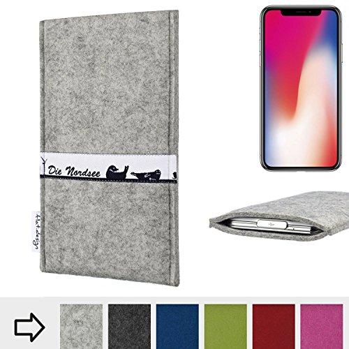 flat.design Handyhülle SKYLINE mit Webband Nordsee für Apple iPhone X - made in Germany Tasche aus 100% Natur Filz (hellgrau) - Case im Slim Fit Design für Apple iPhone X hellgrau