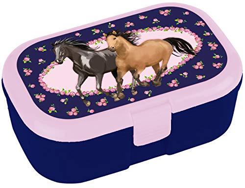 * Pferdefreunde * für Kinder Brotdose ohne Namensdruck | Perfekt für Mädchen | Vesperdose Brotzeitbox Brotzeit Pferde Pony Reiten Schule Grundschule Einschulung ()