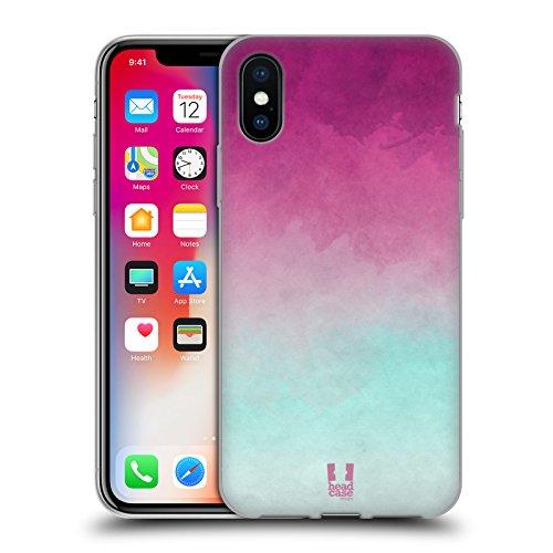 Head Case Designs Rosa E Giallo Aquarello Sfumato Cover Morbida In Gel Per Apple iPhone X Porpora E Blu Chiaro