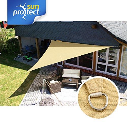 sunprotect 83490 Professional Sonnensegel, 7 x 7 x 9,9 m, 90° Grad Dreieck, Wind- & wasserdurchlässig, Beige | Garten > Sonnenschirme und Markisen > Sonnensegel | Polyethylen | sunprotect