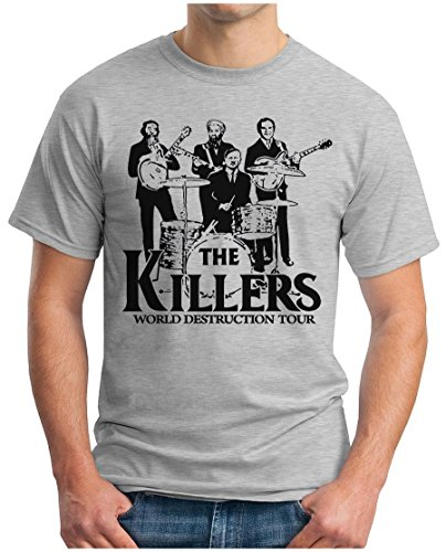 OM3 THE KILLERS WORLD DESTRUCTION TOUR - T-Shirt Punk Rock Hardrock Music Parody Geek, L, Grau Meliert (Punk-rock-retro-t-shirt)