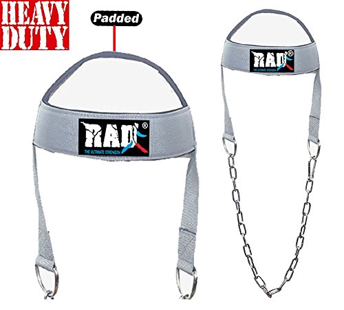 2Fit, imbracatura regolabile per testa e collo, per allenamento, esercizi, sollevamento pesi, con cinghie grigie e catena di resistenza a cunetta