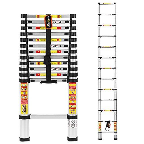 3,8 M Teleskopleiter Aluminium-Klappleiter mit Finger Sicherheitseinstellungen und und entspricht EN131, SGS und CE-Standards von Anordsem