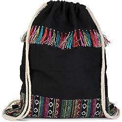styleBREAKER bolsa de deporte, mochila en estilo boho con motivo étnico y coloridas borlas, unisex 02012094, Color Negro/Multicolor