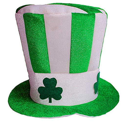 CAheadY Lovely Clover Printed Velvet Unisex High Top Hat Festival Party Costume Prop Decor Green - Hat Green Day