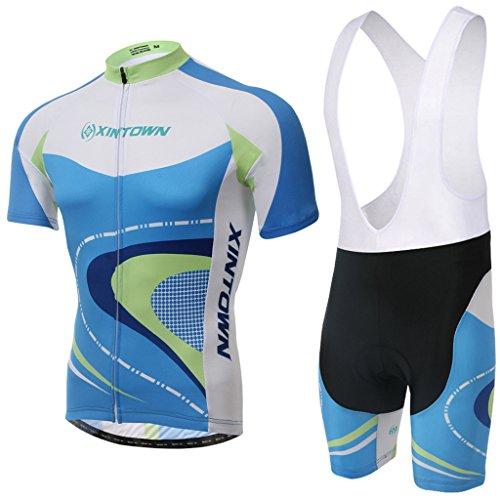 Skysper - [un Set]Moda Maglia Ciclismo Jerseys Per Uomo: Corta Manica Tuta Estivo + Pantaloni corti di ciclismo; Abbigliamento Ciclismo Sportivo Professionale Traspirazione Comodo