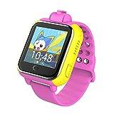 Yuanline Smart Watch Kids Montre Connectée Pour Enfant Garçons Filles Avec Ecran Tactile Smart Téléphone Support SIM GPS SOS Q730 avec Caméra 2.0MP pour IOS Android (rose)