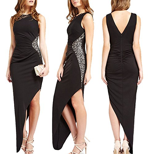 CoCo Fashion Damen Maxikleid Abendkleid Paillettenkleid Lace Bodycon Partykleid Cocktail Pencil Kleider mit Falten Ärmellos, Größe EU 34-36(Herstellergröße M), Farbe Schwarz - 4
