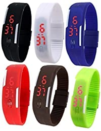 RTimes Unisex Multicolor Set of 6 Digital Rubber Jelly Slim Silicone Sports Led Smart Band Watch for Boys, Girls, Men, Women, Kids